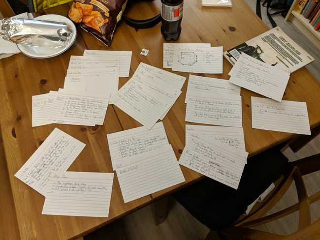Various recipe cards scattered across a table